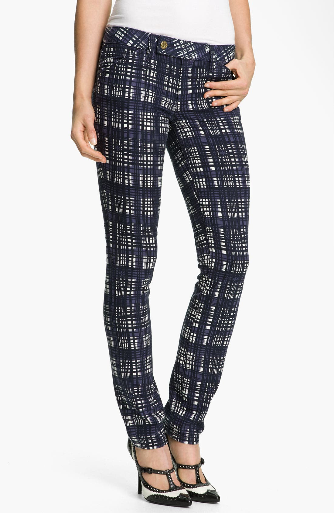 Main Image - Tory Burch 'Connor' Plaid Skinny Stretch Jeans