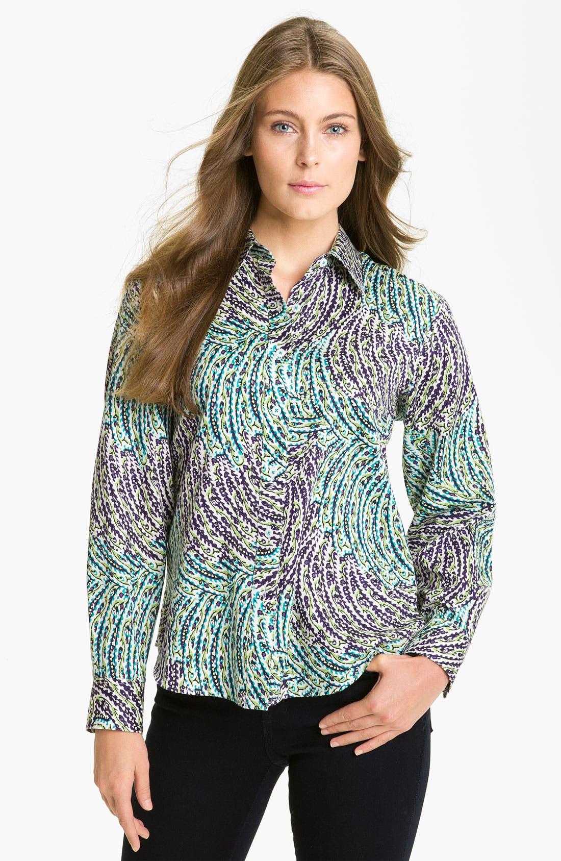 Alternate Image 1 Selected - Foxcroft Garden Print Shirt