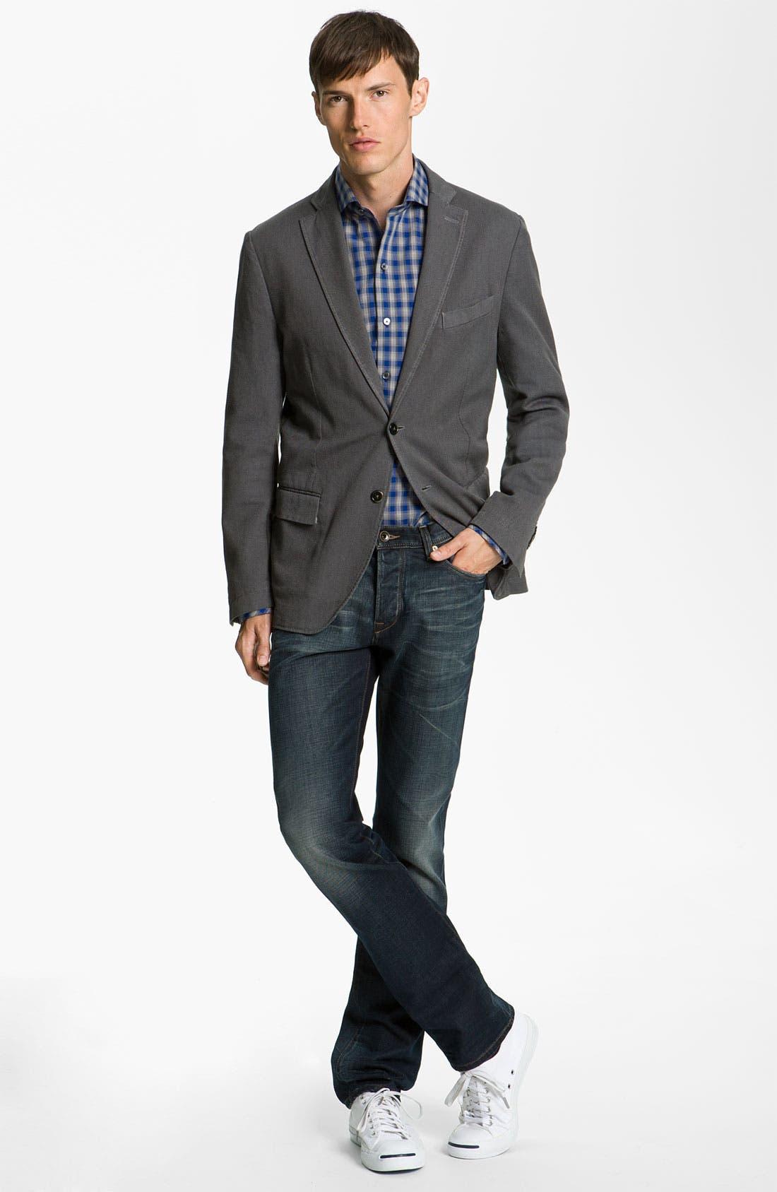 Alternate Image 7  - John Varvatos 'Bowery' Slim Straight Leg Jeans (Dark Indigo)