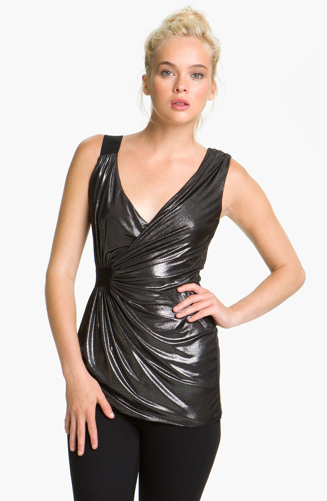 Alternate Image 1 Selected - Bailey 44 Metallic Faux Wrap Tank