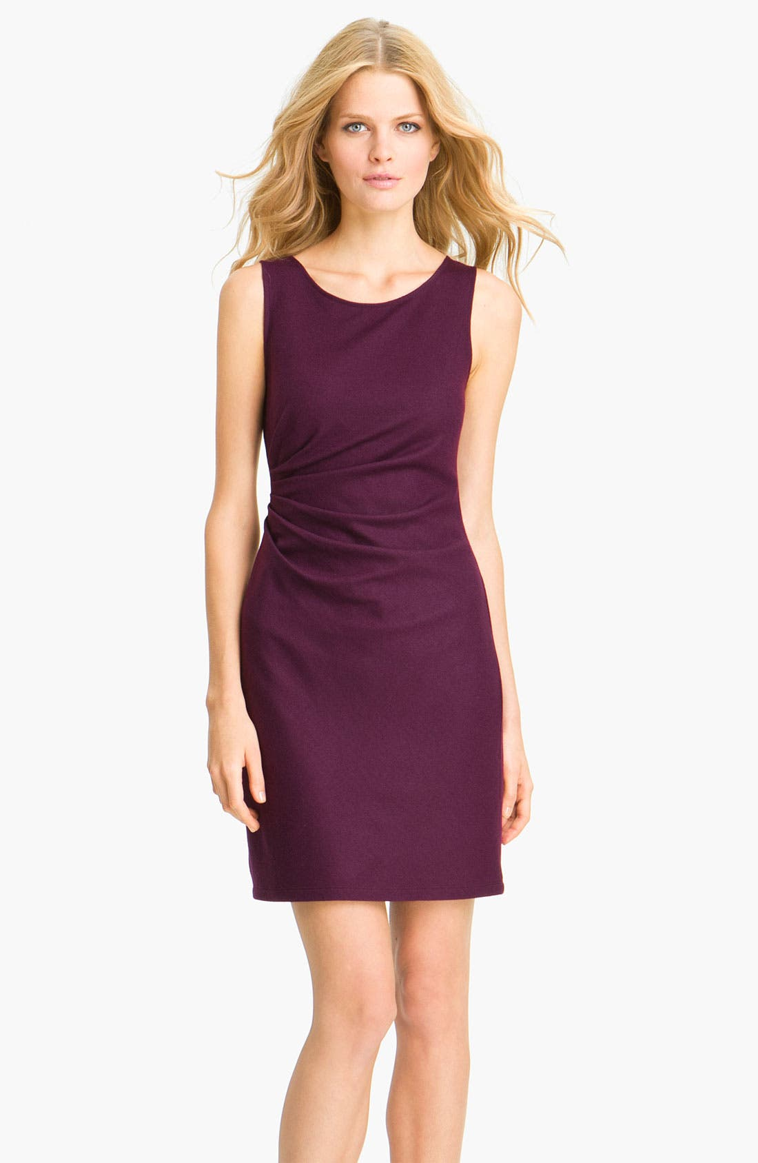 'Meily K. - Victorious' Wool Shift Dress,                             Main thumbnail 1, color,                             Syrah