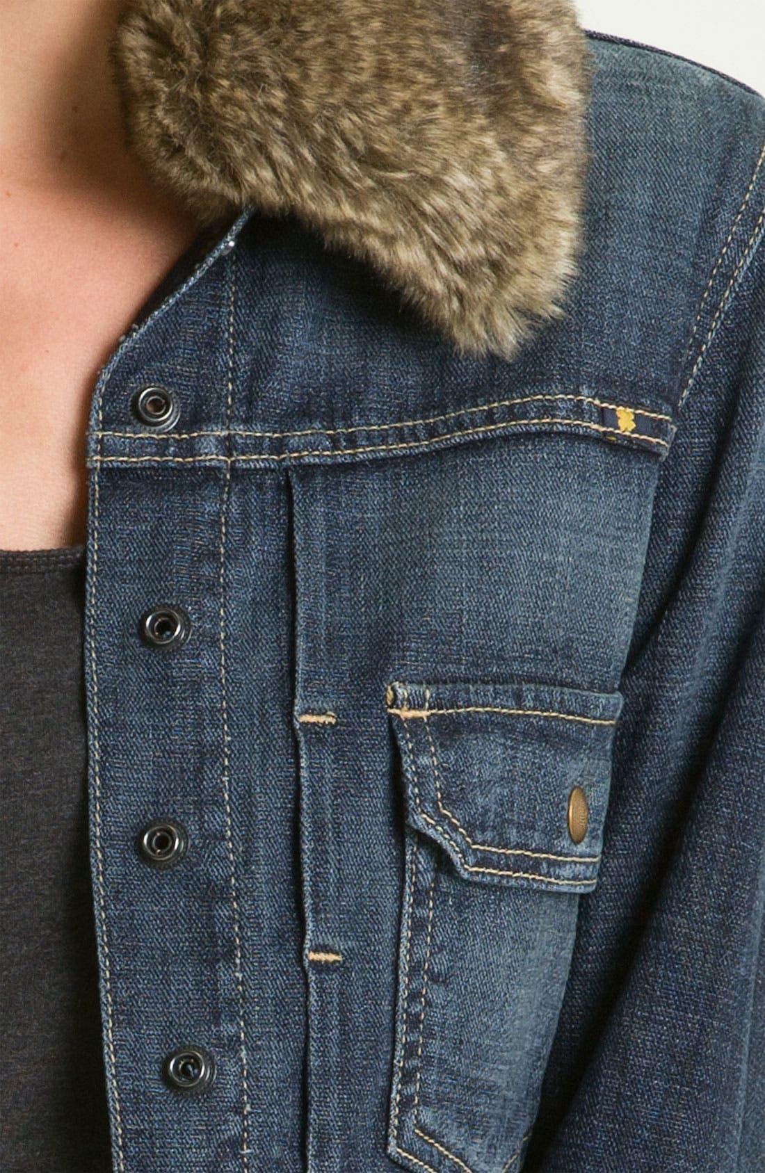 Alternate Image 3  - Lucky Brand Faux Fur Collar Denim Jacket