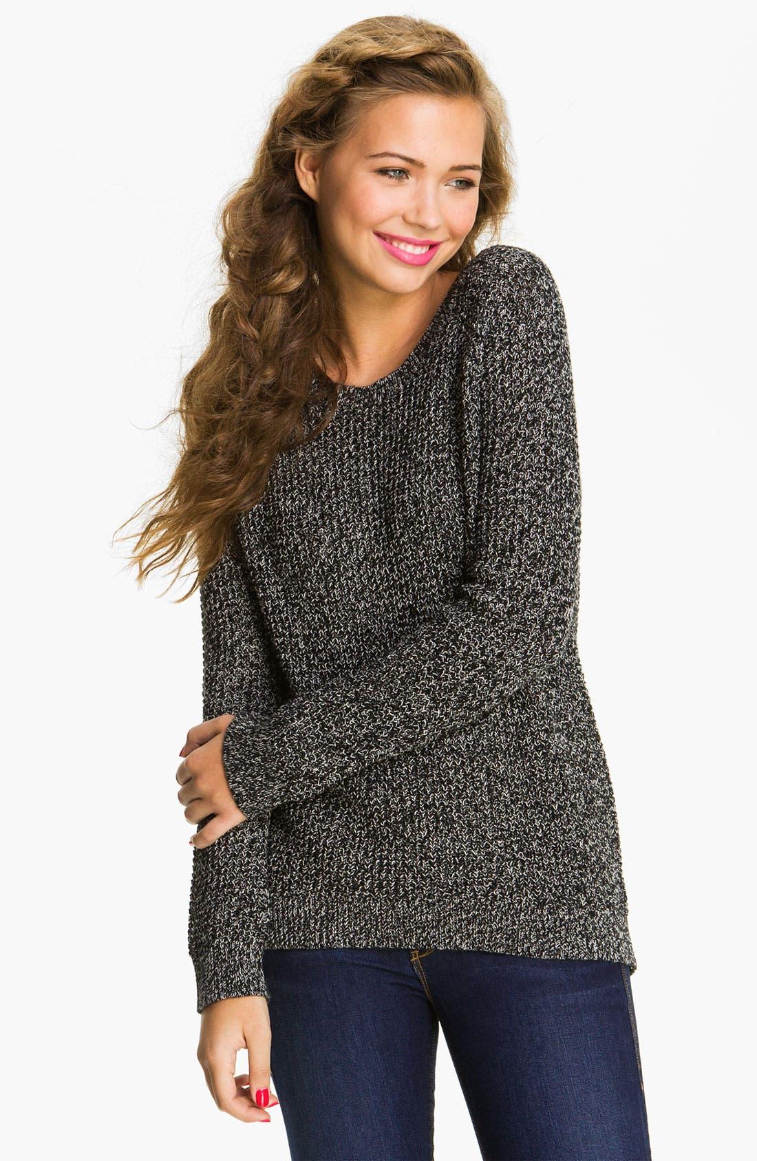 Alternate Image 1 Selected - Rubbish® Waffle Knit Sweater (Juniors)
