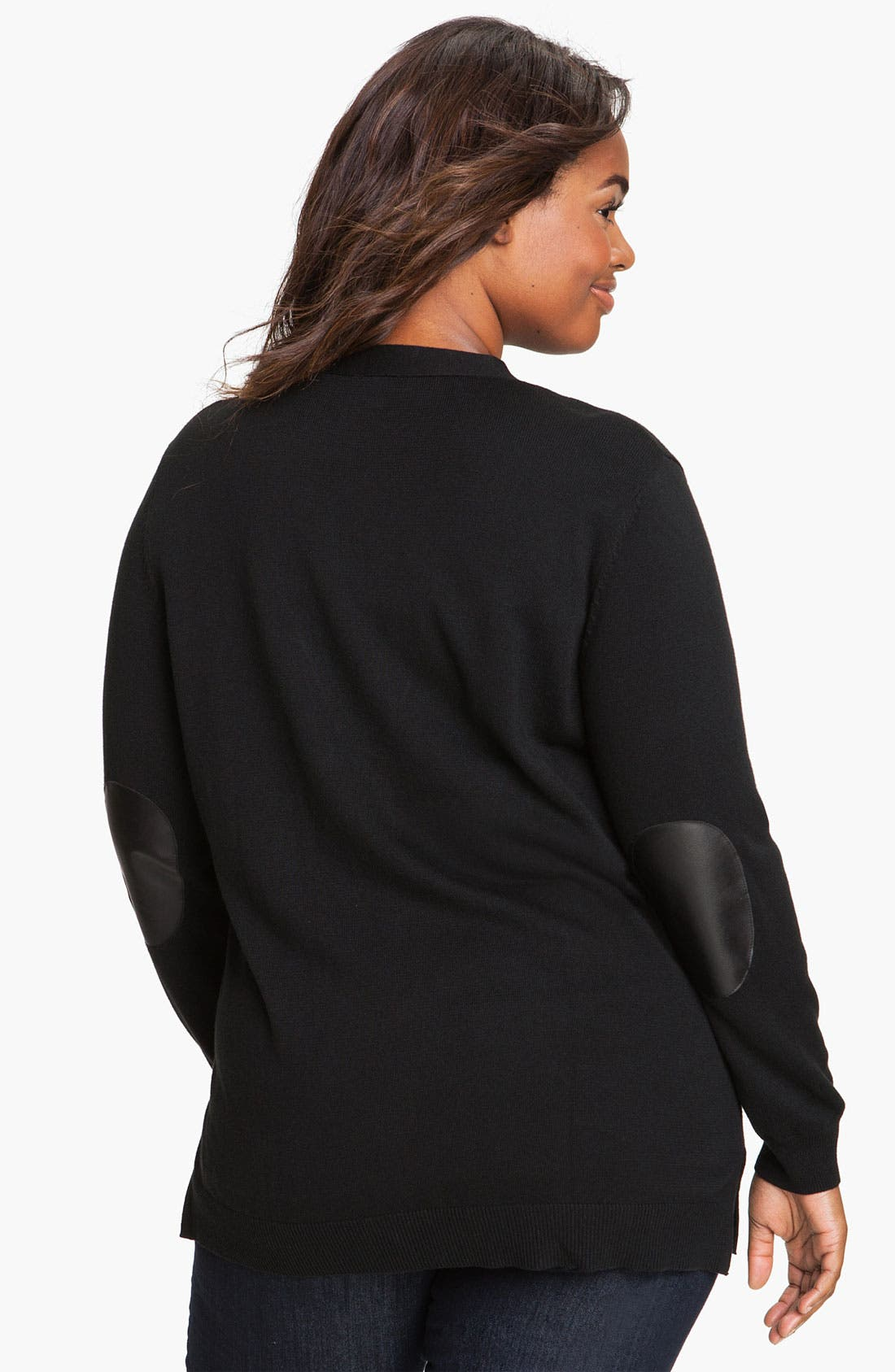 Alternate Image 2  - Vince Camuto Elbow Patch Cardigan (Plus)