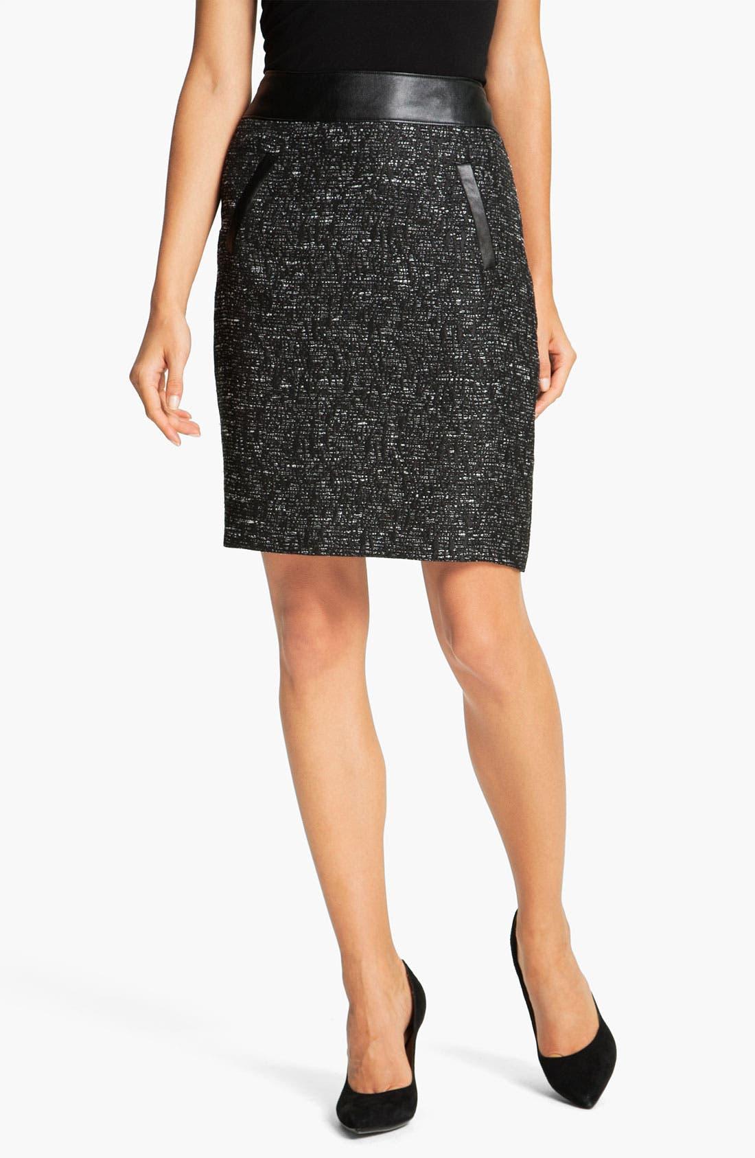 Main Image - Halogen® Faux Leather Trim Skirt