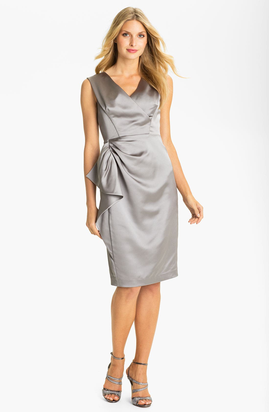 Main Image - Maggy London Stretch Satin Sheath Dress (Regular & Petite)