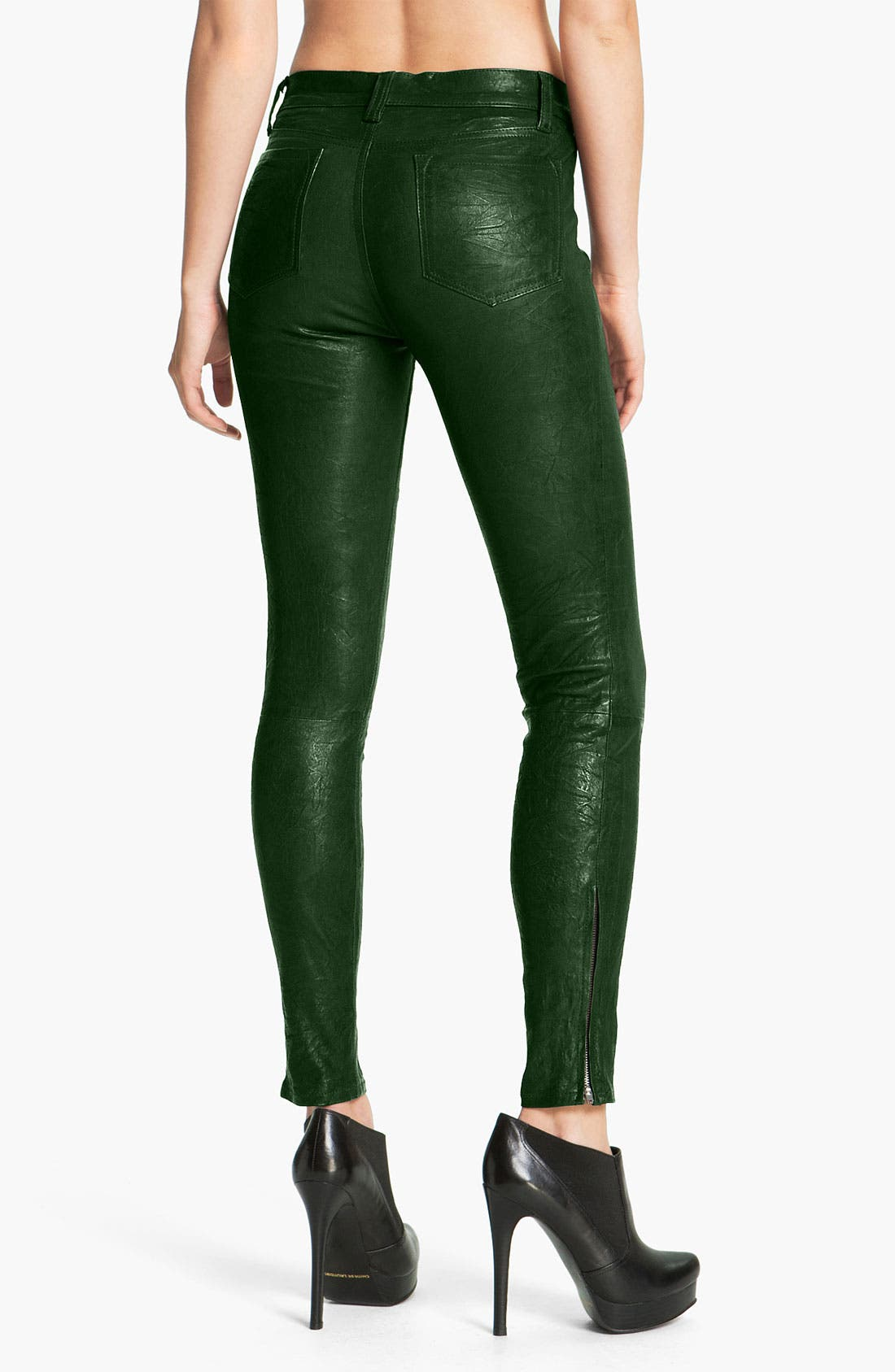 '8001' Lambskin Leather Pants,                             Alternate thumbnail 3, color,                             Forest