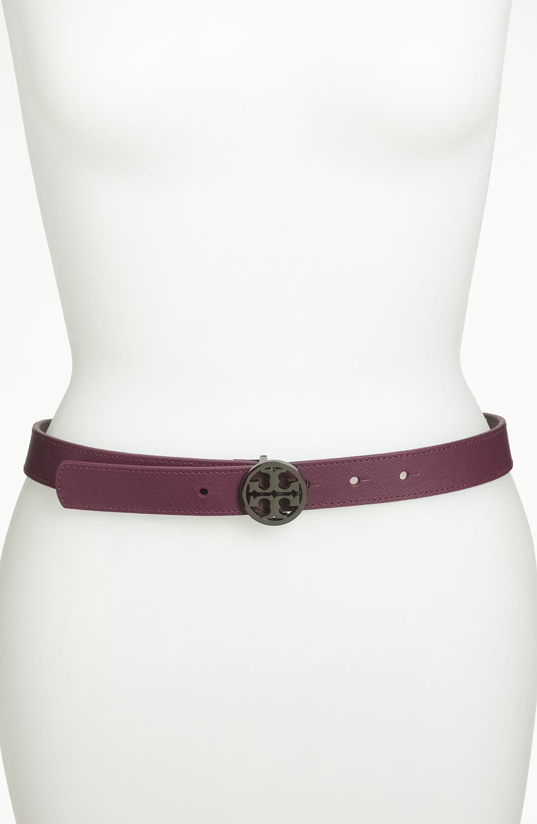 Alternate Image 1 Selected - Tory Burch 'Classic Tory Logo' Saffiano Leather Belt