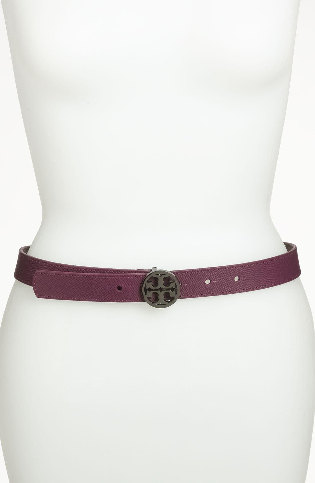 Main Image - Tory Burch 'Classic Tory Logo' Saffiano Leather Belt