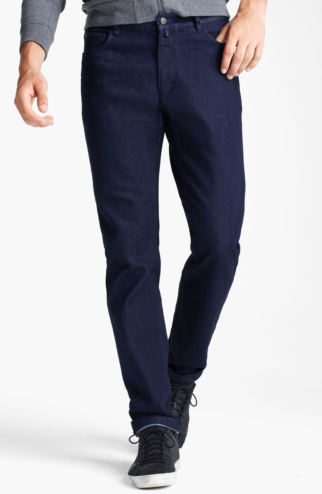 Main Image - Zegna Sport 'Cool Max' Straight Leg Jeans (Dark Blue)