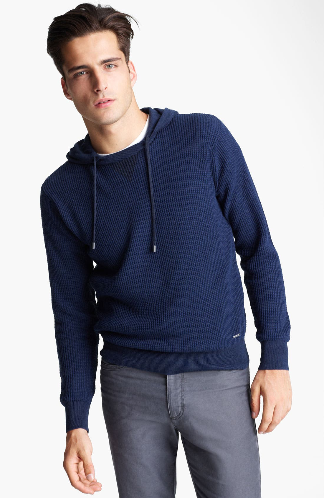 Alternate Image 1 Selected - Zegna Sport Waffled Cashmere & Cotton Hoodie