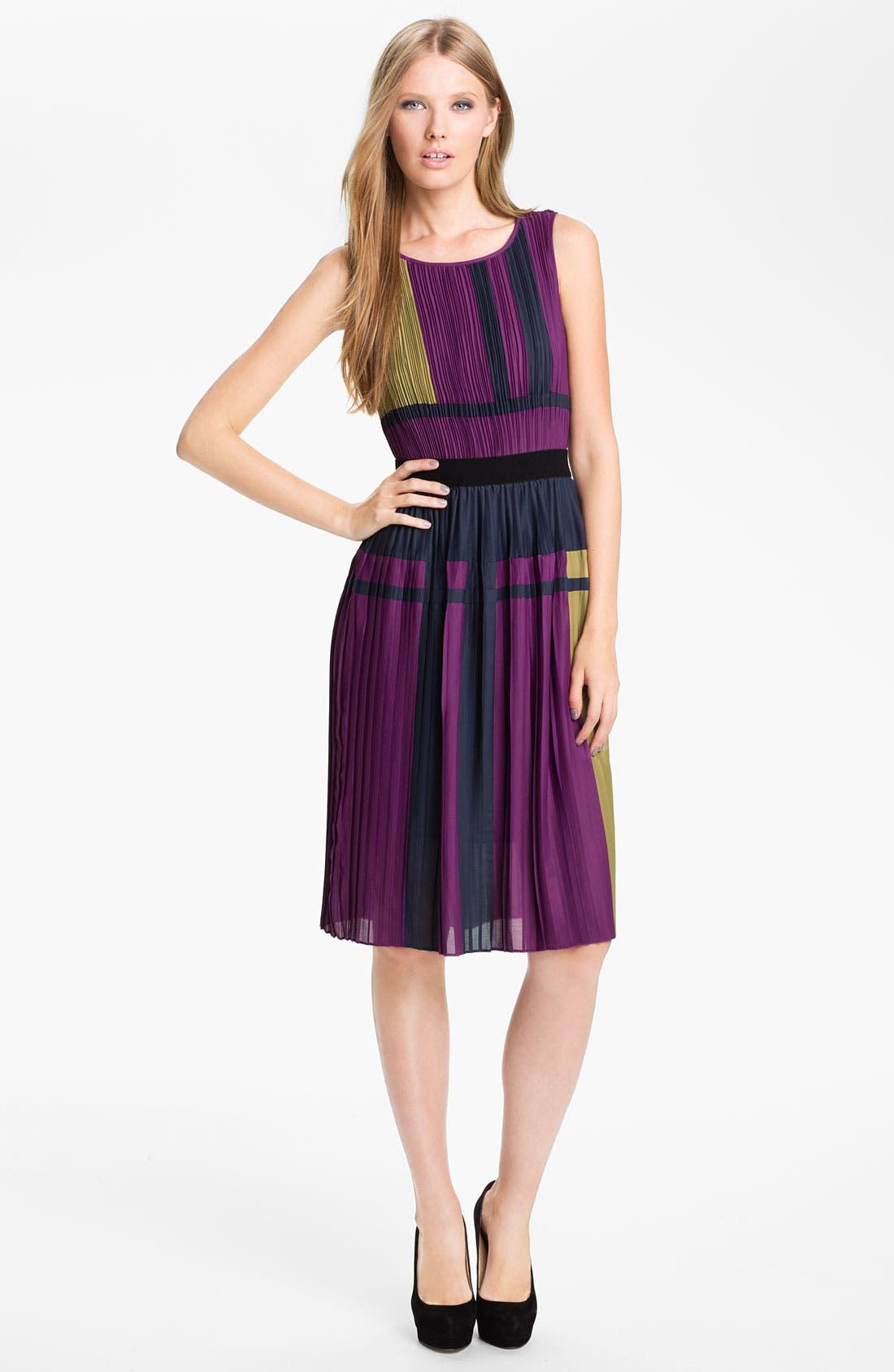 Main Image - BCBGMAXAZRIA Pleated Colorblock Chiffon Dress