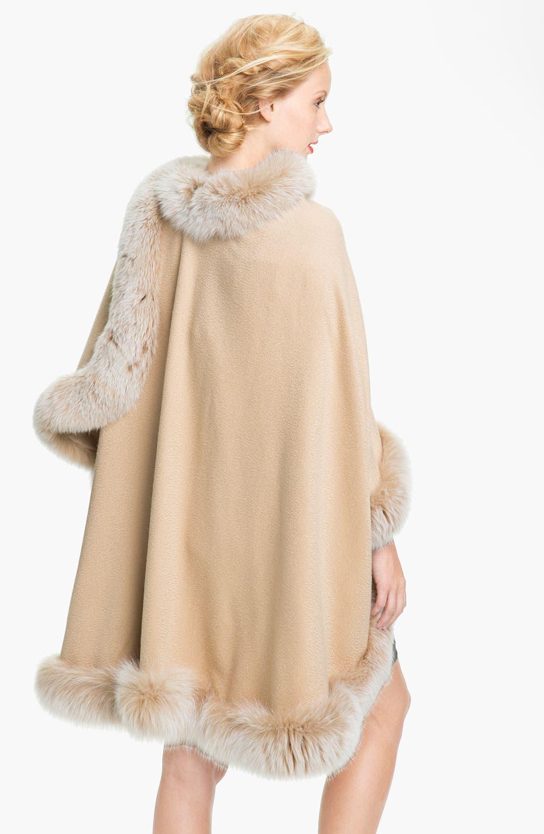 Alternate Image 2  - Sofia Cashmere Genuine Fox Fur Trim Cape