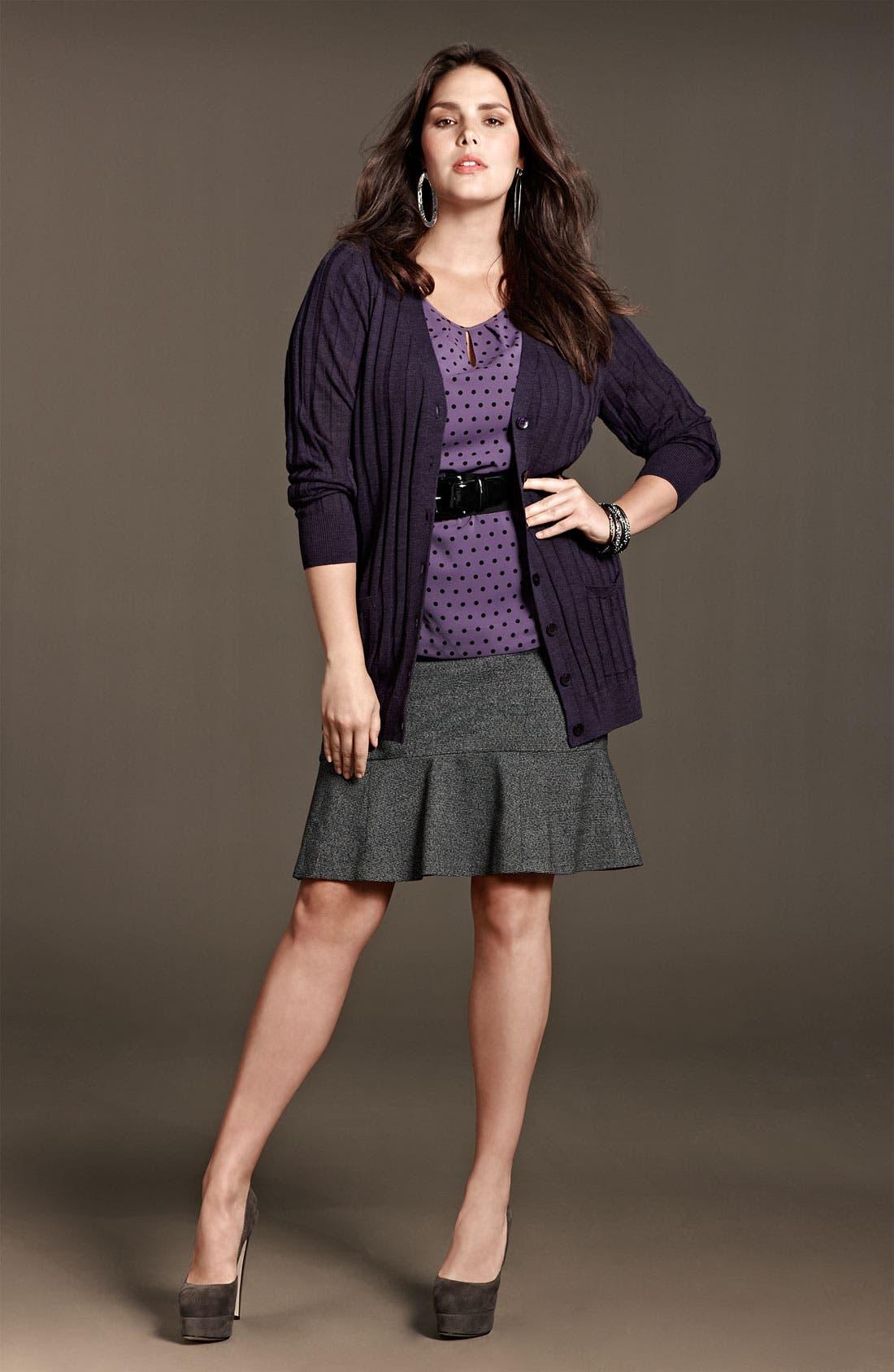 Alternate Image 4  - Sejour Herringbone Suit Skirt (Plus)