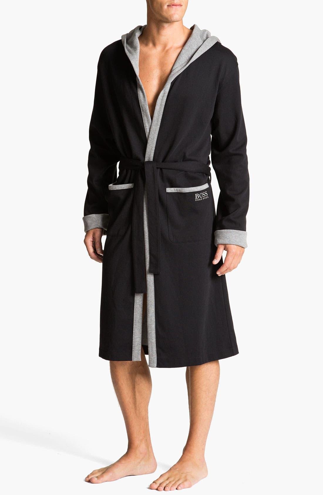 Alternate Image 1 Selected - BOSS Black Hooded Cotton Robe