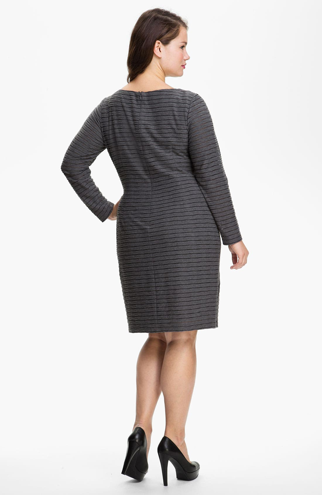 Alternate Image 2  - Adrianna Papell Asymmetric Seamed Sheath Dress (Plus)
