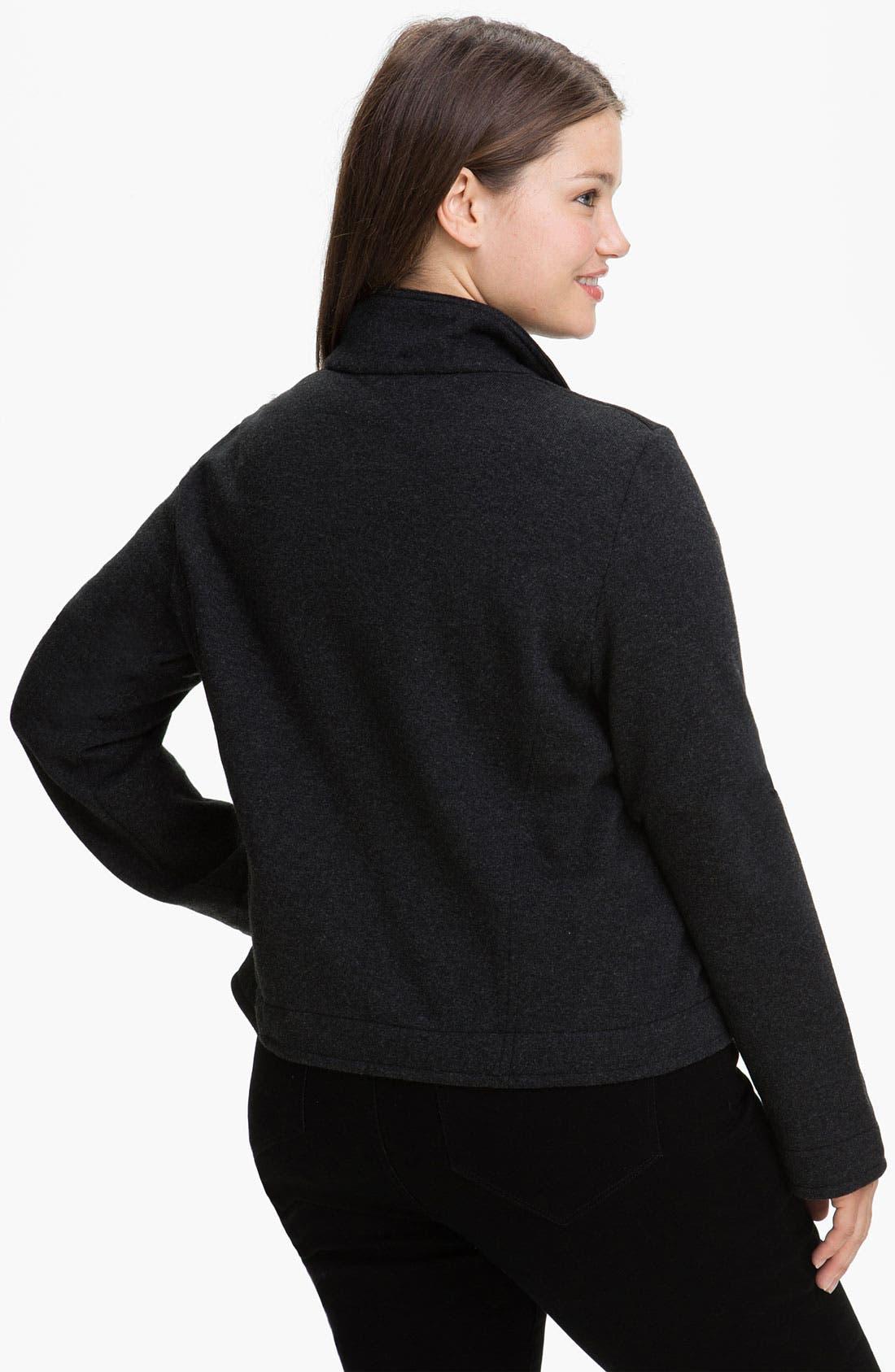 Alternate Image 2  - Eileen Fisher Wool Blend Moto Jacket (Plus)