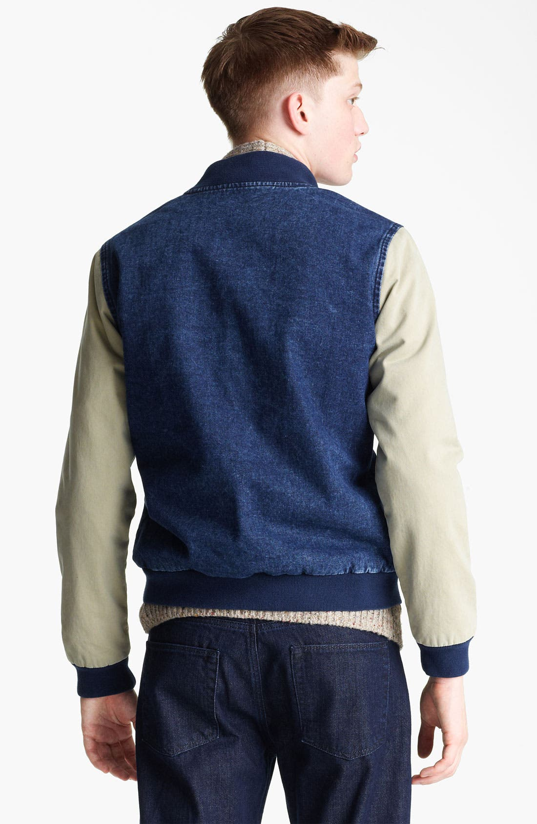 Alternate Image 2  - Topman 'Bepping' Denim Baseball Jacket