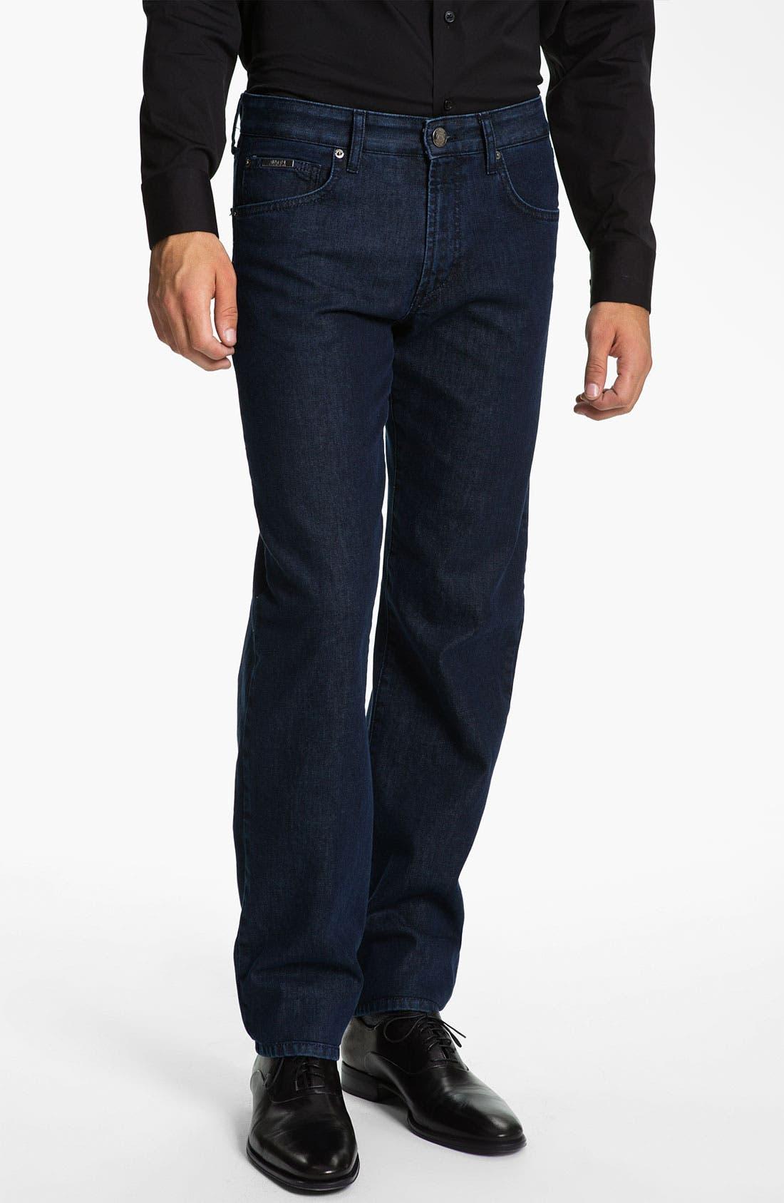 Alternate Image 1 Selected - Armani Collezioni Straight Leg Jeans (Navy Wash)