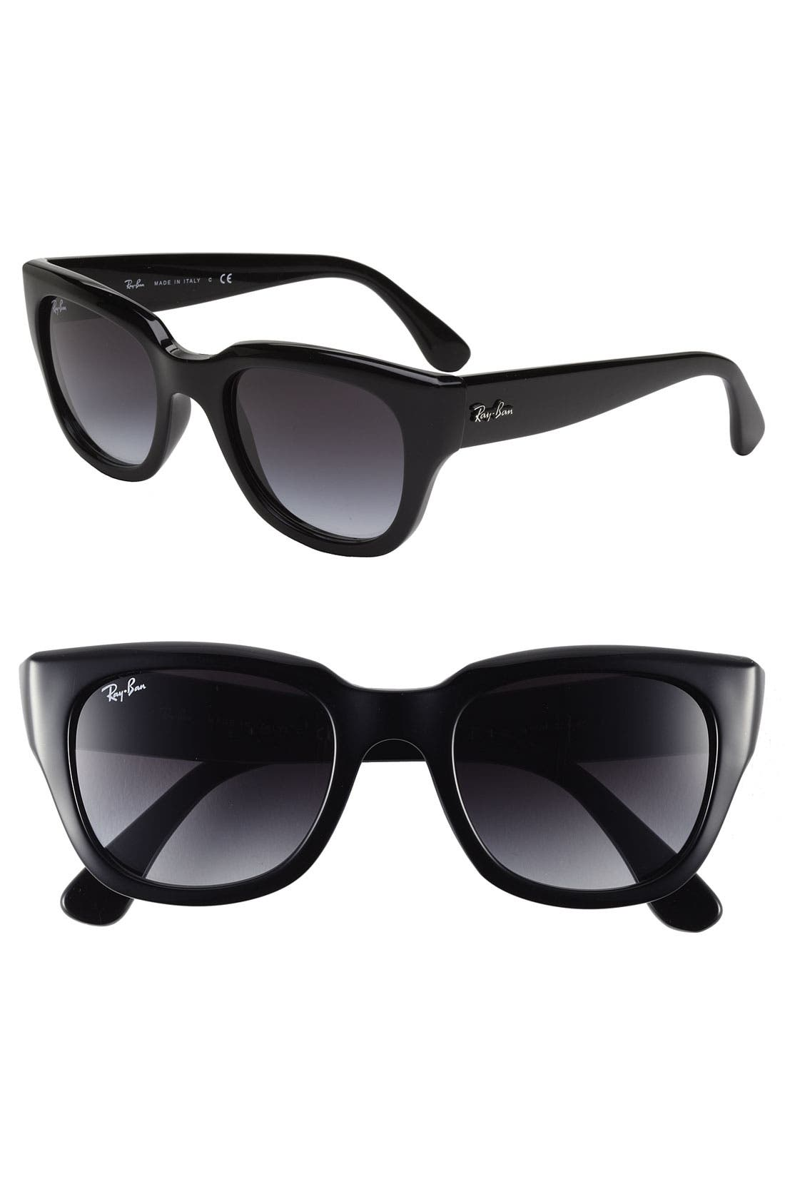 52mm Retro Sunglasses,                             Main thumbnail 1, color,                             Black/ Grey Gradient