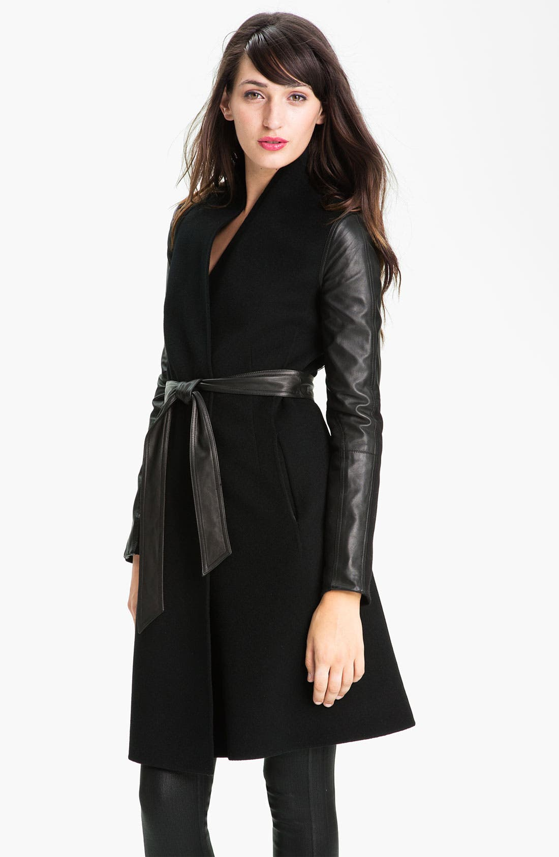 Alternate Image 1 Selected - Dawn Levy 'Minka' Wool & Leather Coat