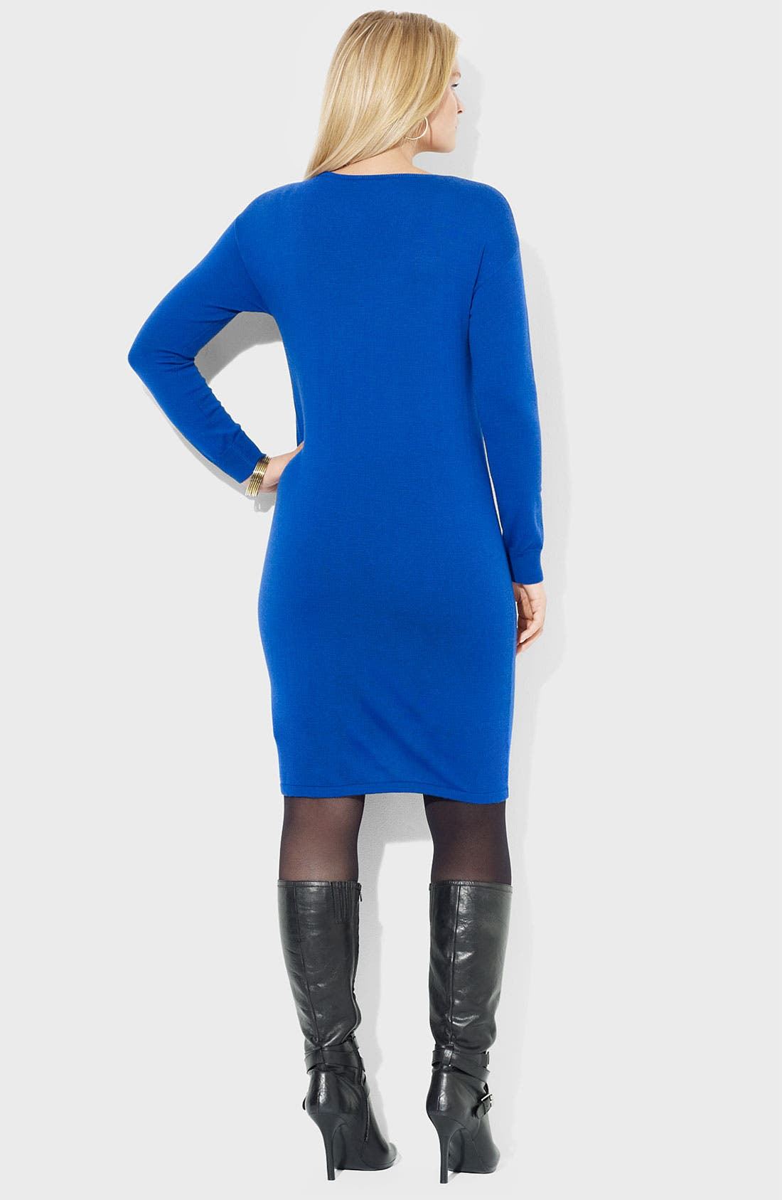 Alternate Image 2  - Lauren Ralph Lauren V-Neck Merino Wool Sweater Dress (Plus)