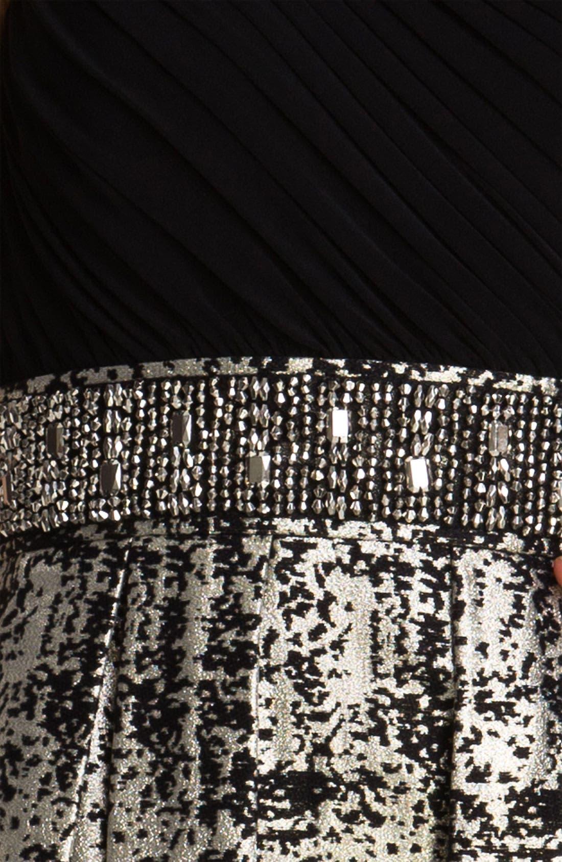 Alternate Image 3  - Eliza J One Shoulder Mixed Media Fit & Flare Dress