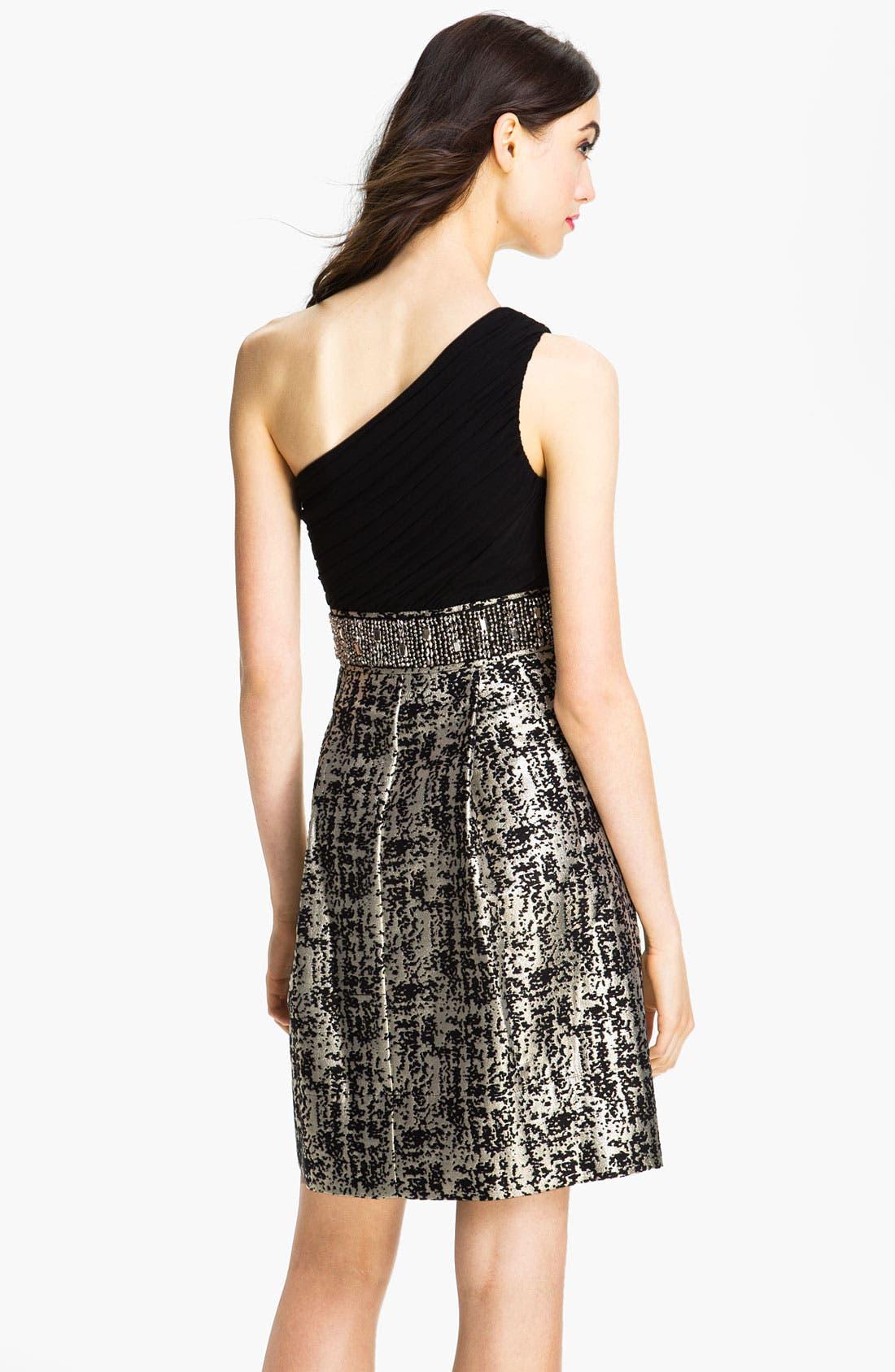 Alternate Image 2  - Eliza J One Shoulder Mixed Media Fit & Flare Dress