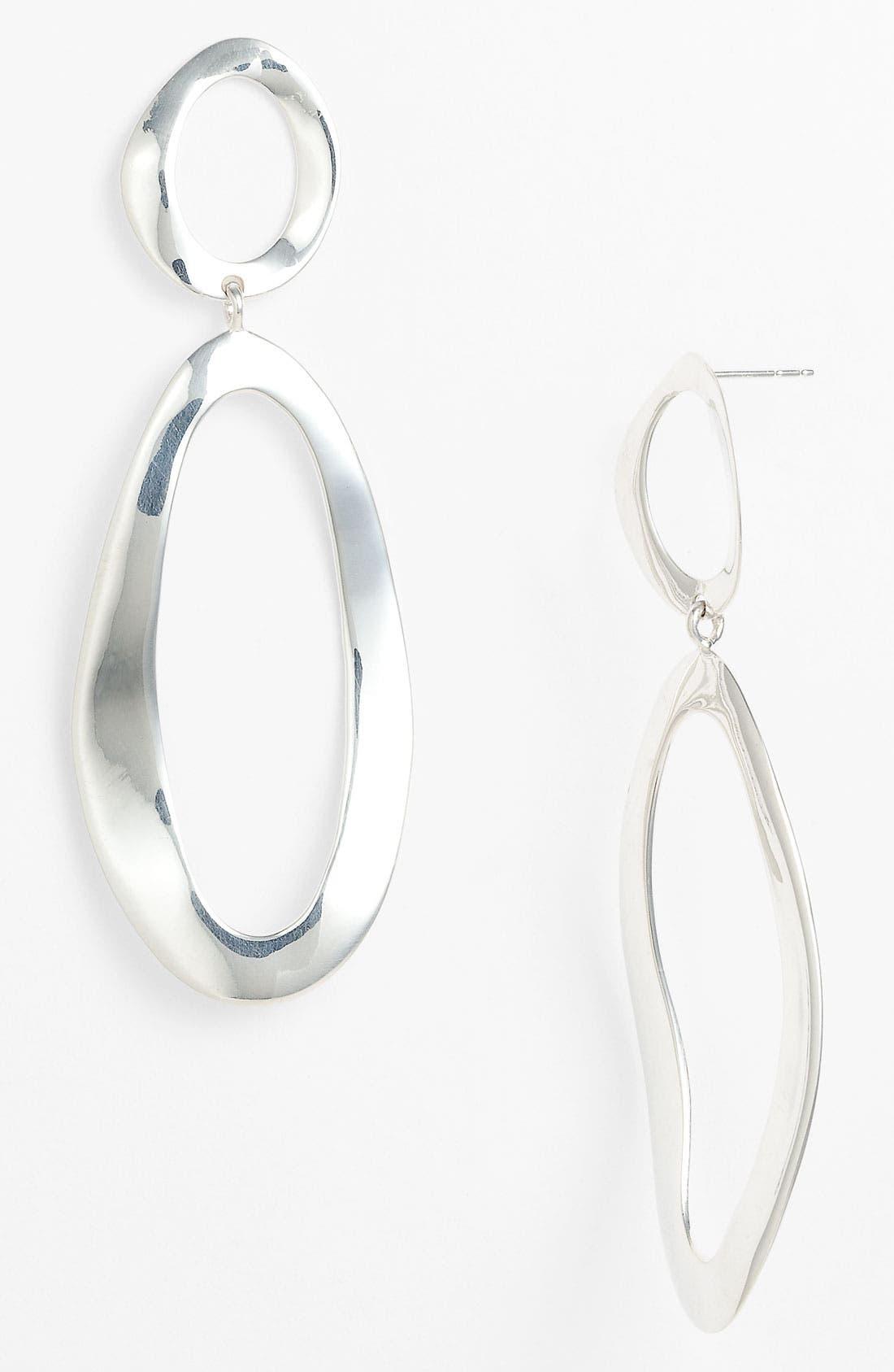 'Oval Snowman' Large Wavy Earrings,                             Main thumbnail 1, color,                             Silver