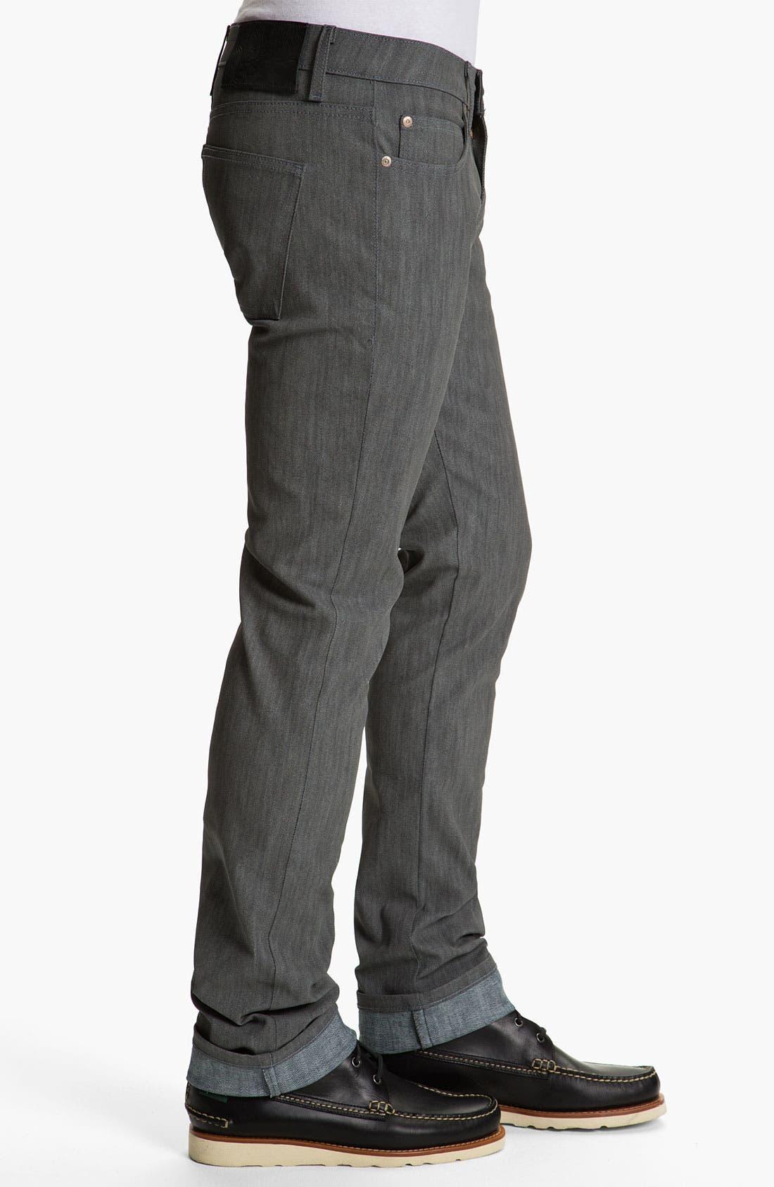 Alternate Image 4  - Naked & Famous Denim 'Skinny Guy' Slim Straight Leg Jeans (Grey Glow In The Dark)
