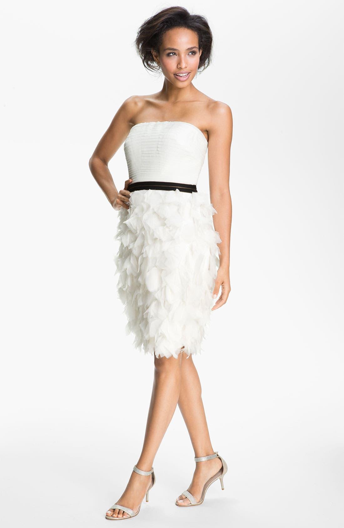 Alternate Image 1 Selected - Tadashi Shoji Strapless Ruffle Skirt Silk Chiffon Dress