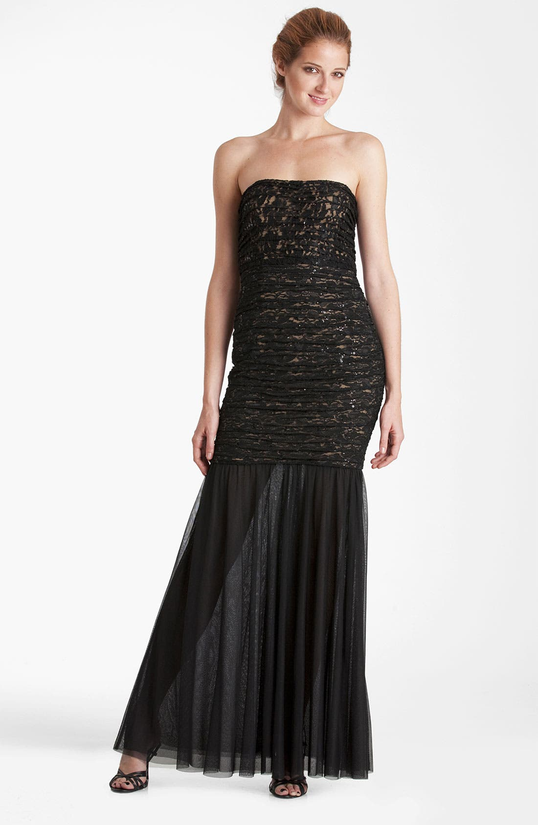 Alternate Image 1 Selected - JS Collections Shirred Lace & Mesh Trumpet Gown