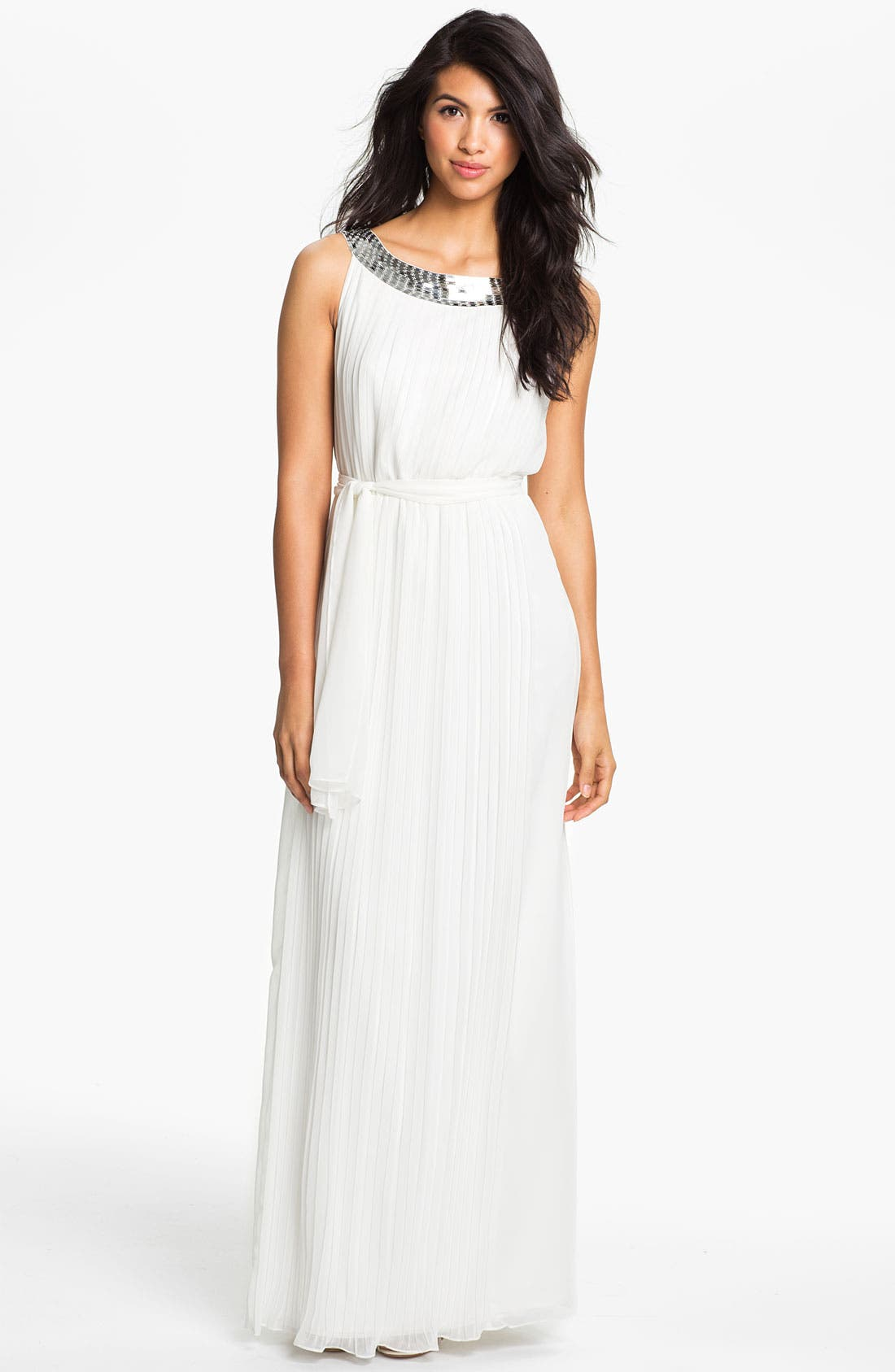 Main Image - Calvin Klein Sequin Neck Pleated Chiffon Gown