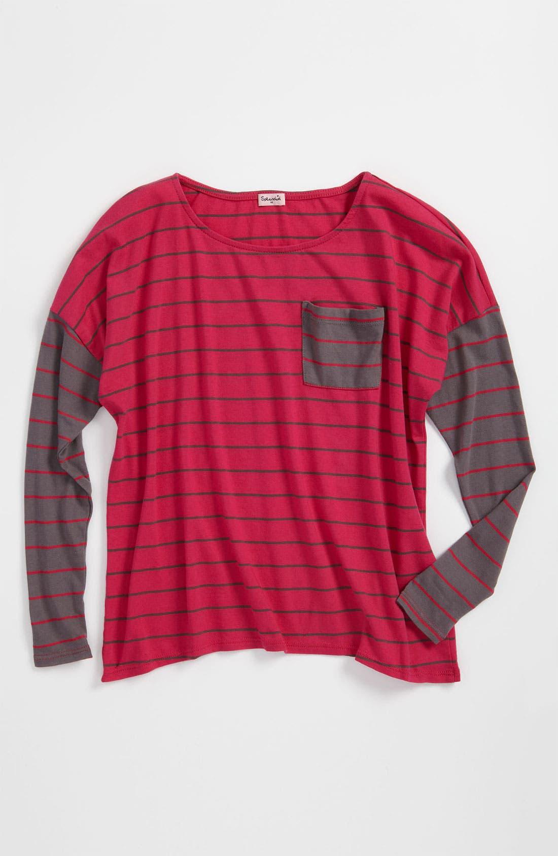 Alternate Image 1 Selected - Splendid 'Lacrosse' Stripe Top (Big Girls)