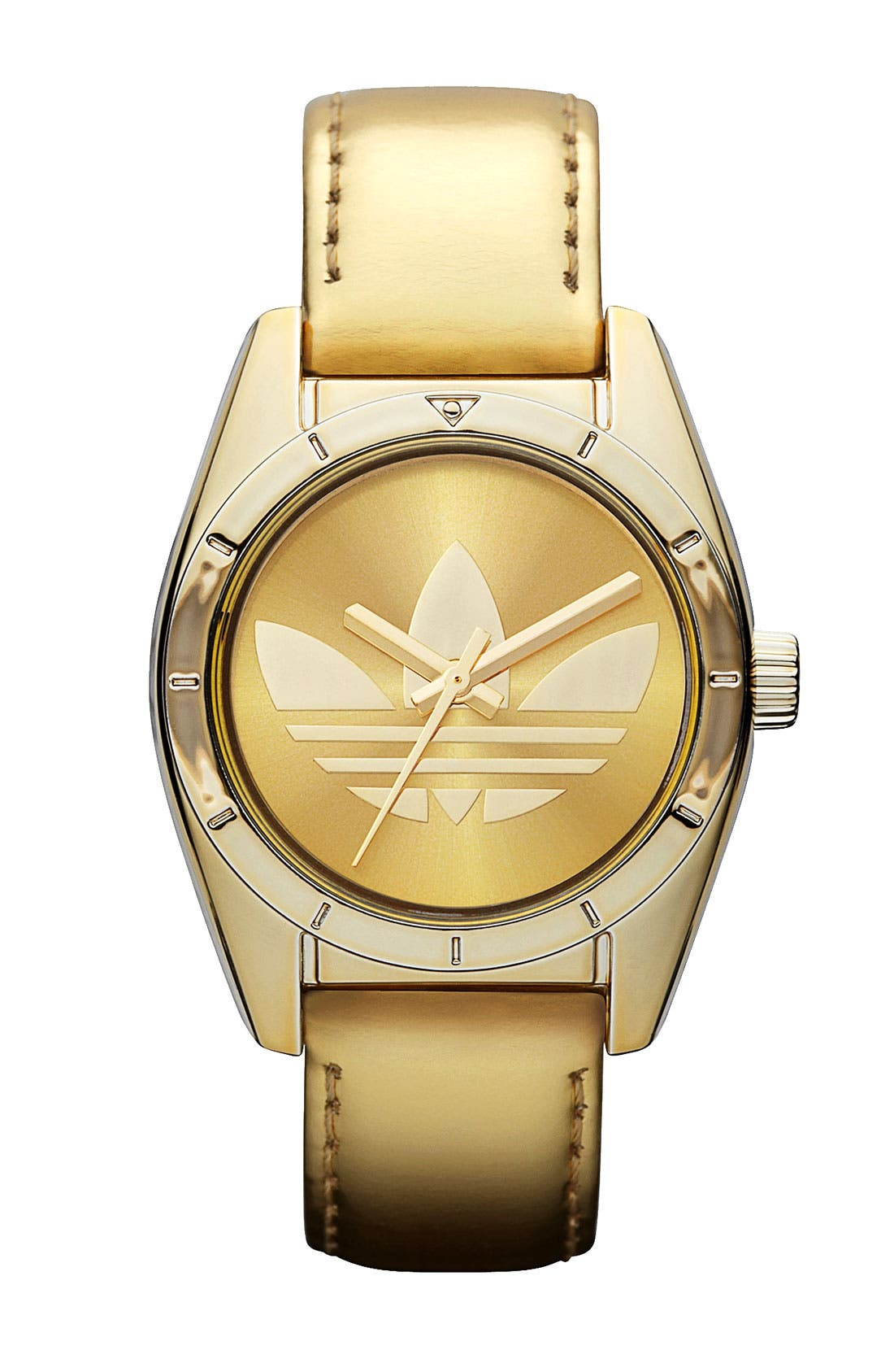 Main Image - adidas Originals 'Santiago' Metallic Leather Strap Watch