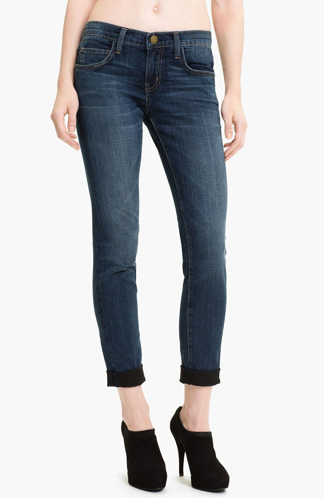 Main Image - Current/Elliott 'The Rolled' Stretch Jeans (Black Loved)