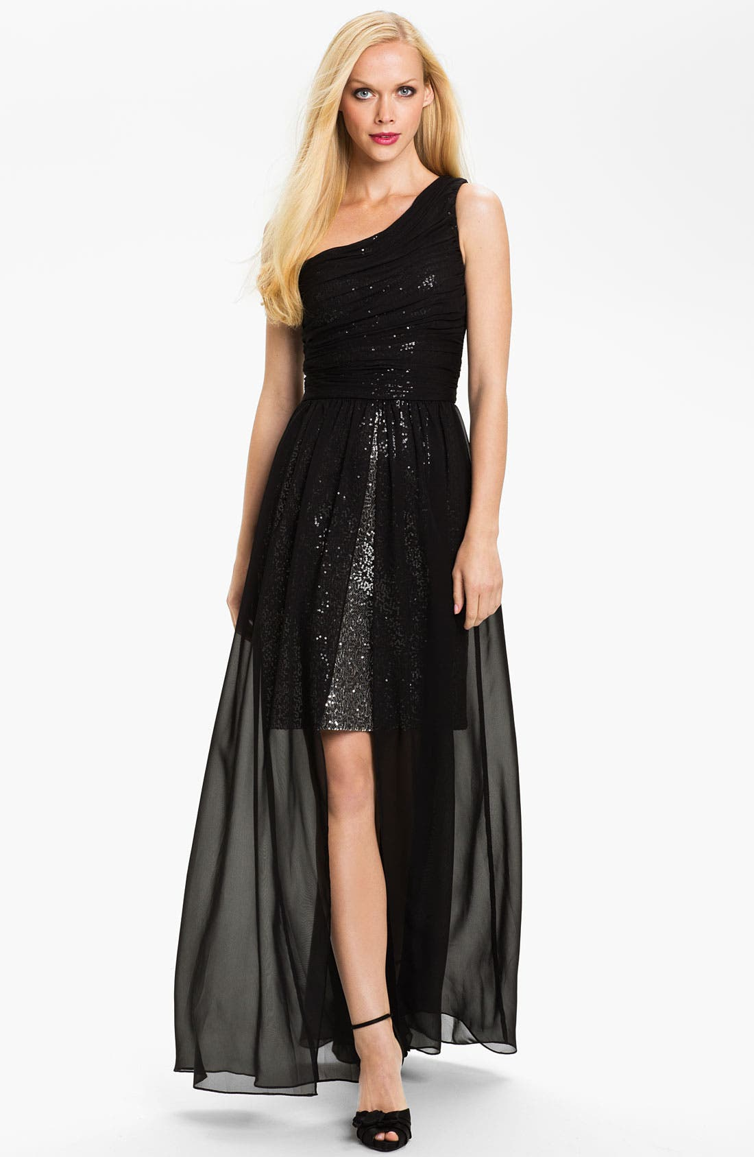 Main Image - Hailey by Adrianna Papell One Shoulder Chiffon Overlay Gown