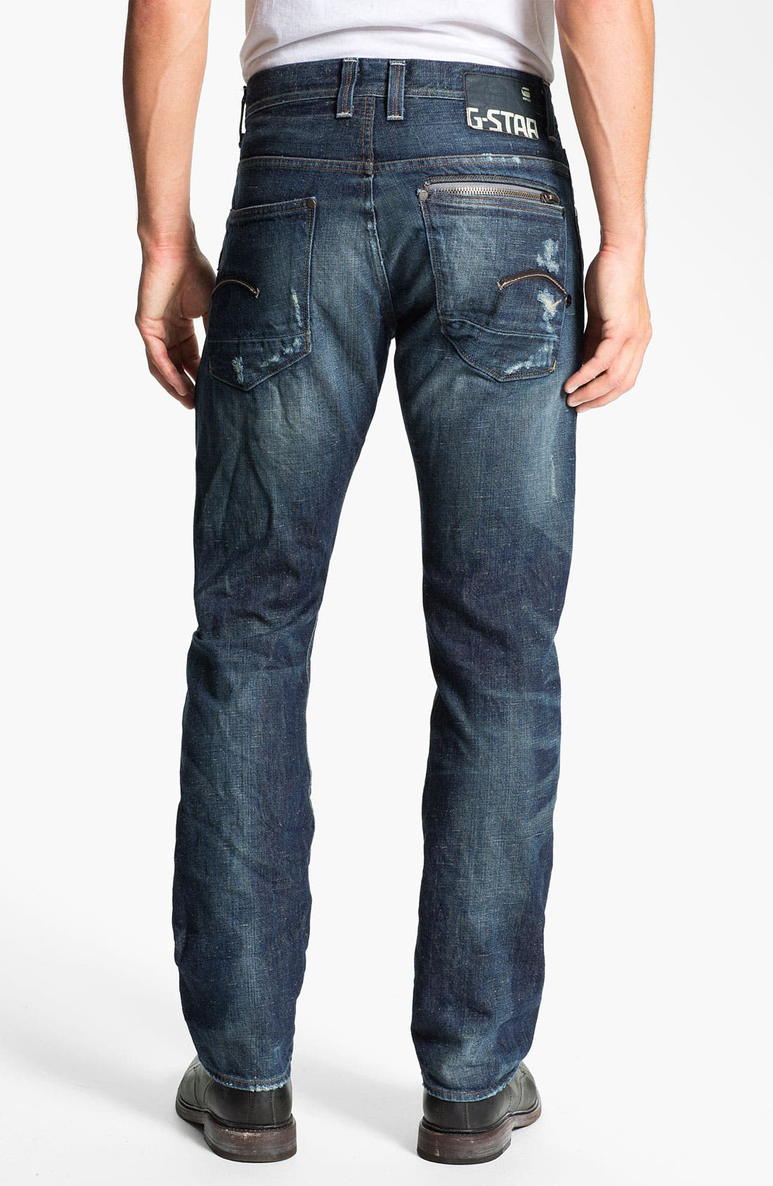 Alternate Image 1 Selected - G-Star Raw 'Attacc' Straight Leg Jeans (Medium Destroy)