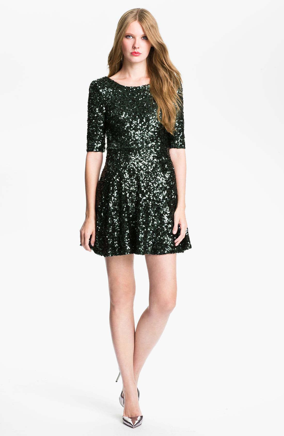 Main Image - French Connection 'Ozlem' Scoop Back Sequin Fit & Flare Dress