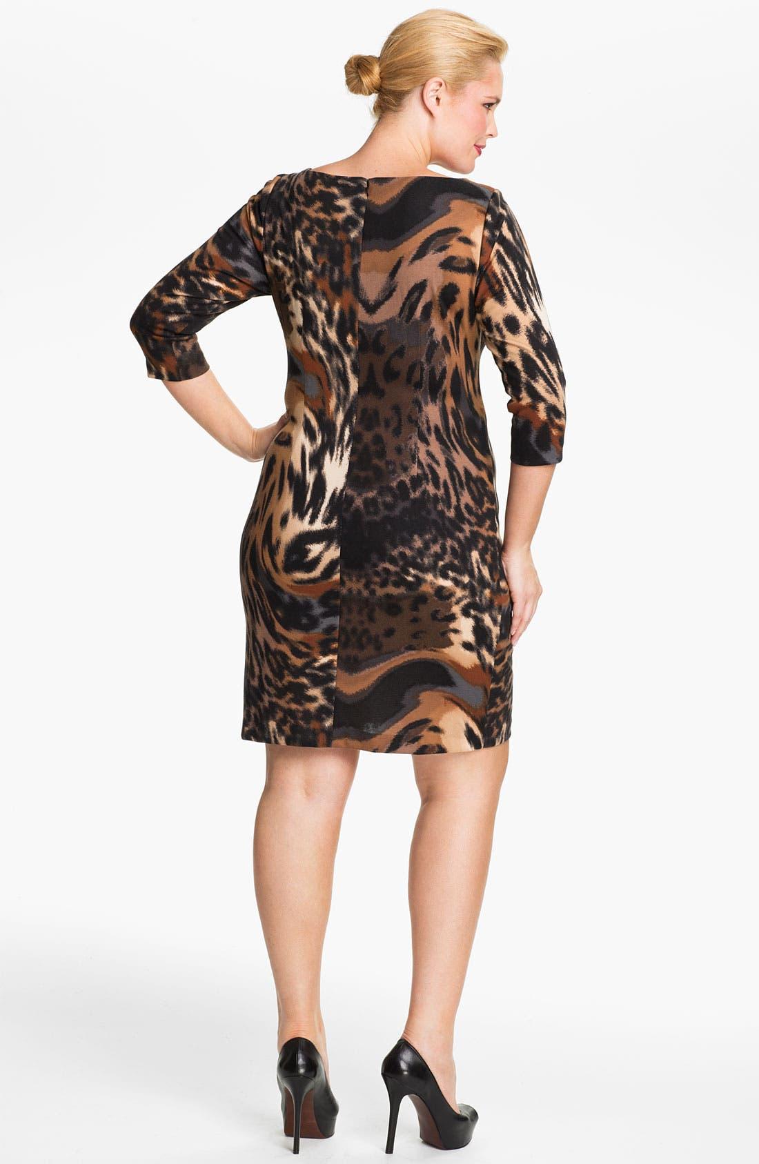 Alternate Image 2  - Jessica Simpson Side Pleat Ponte Knit Sheath Dress (Plus)