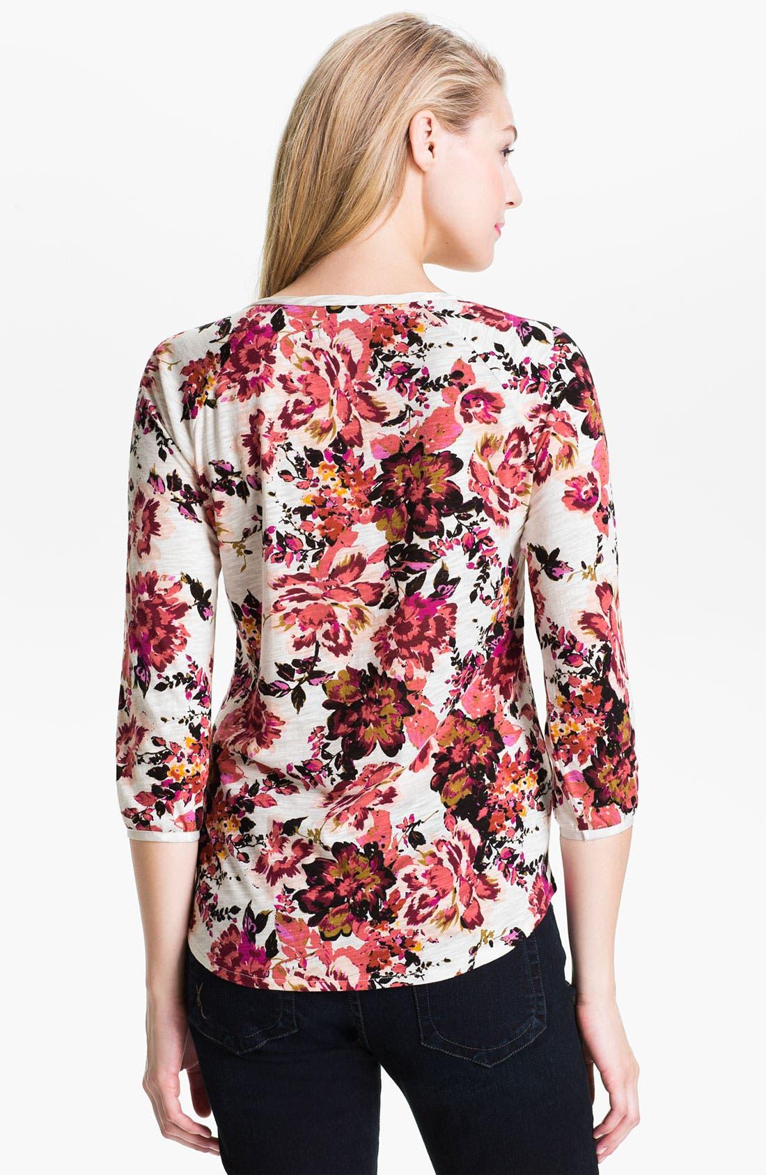 Alternate Image 2  - Lucky Brand 'Kara - Painterly Rose' Henley Top