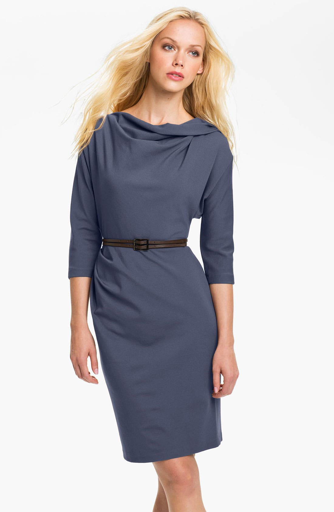 Main Image - Suzi Chin for Maggy Boutique Belted Dolman Sleeve Sheath Dress (Petite)