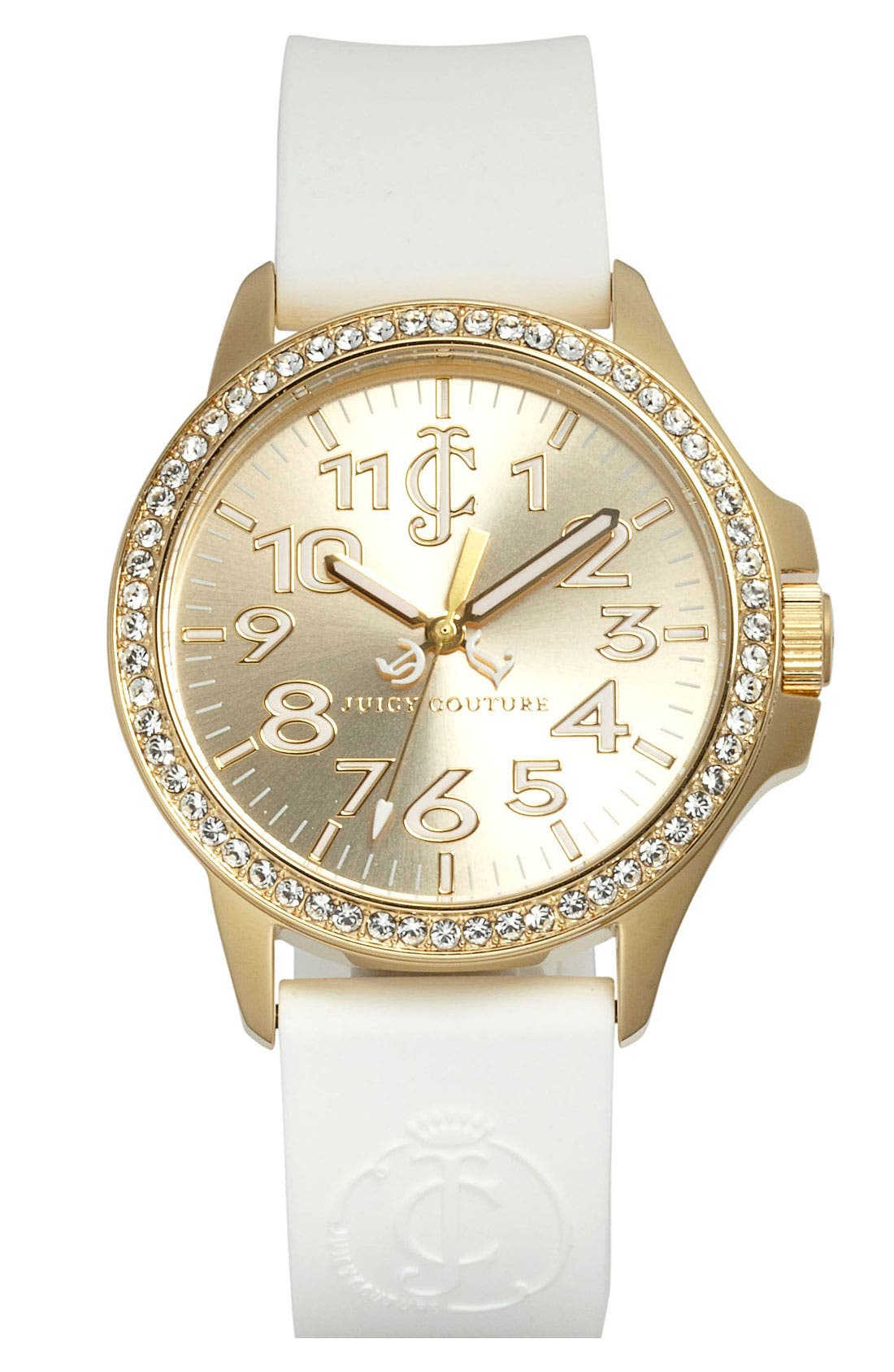 Alternate Image 1 Selected - Juicy Couture 'Jetsetter' Silicone Strap Watch, 38mm