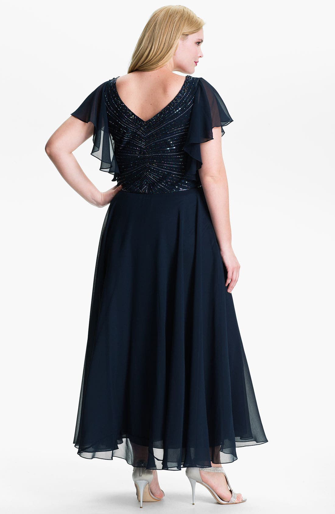 Alternate Image 2  - J Kara V-Neck Sequin Bodice Dress (Plus)