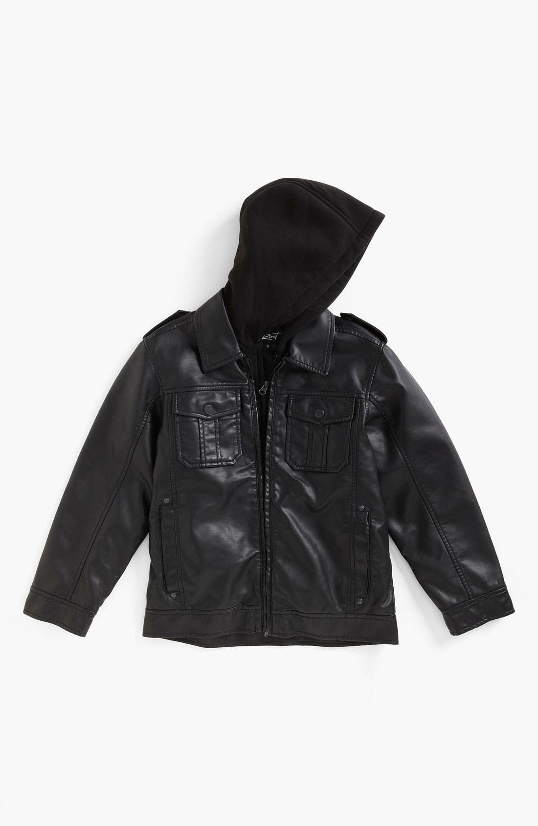 Main Image - Black Rivet Faux Leather Jacket (Big Boys)
