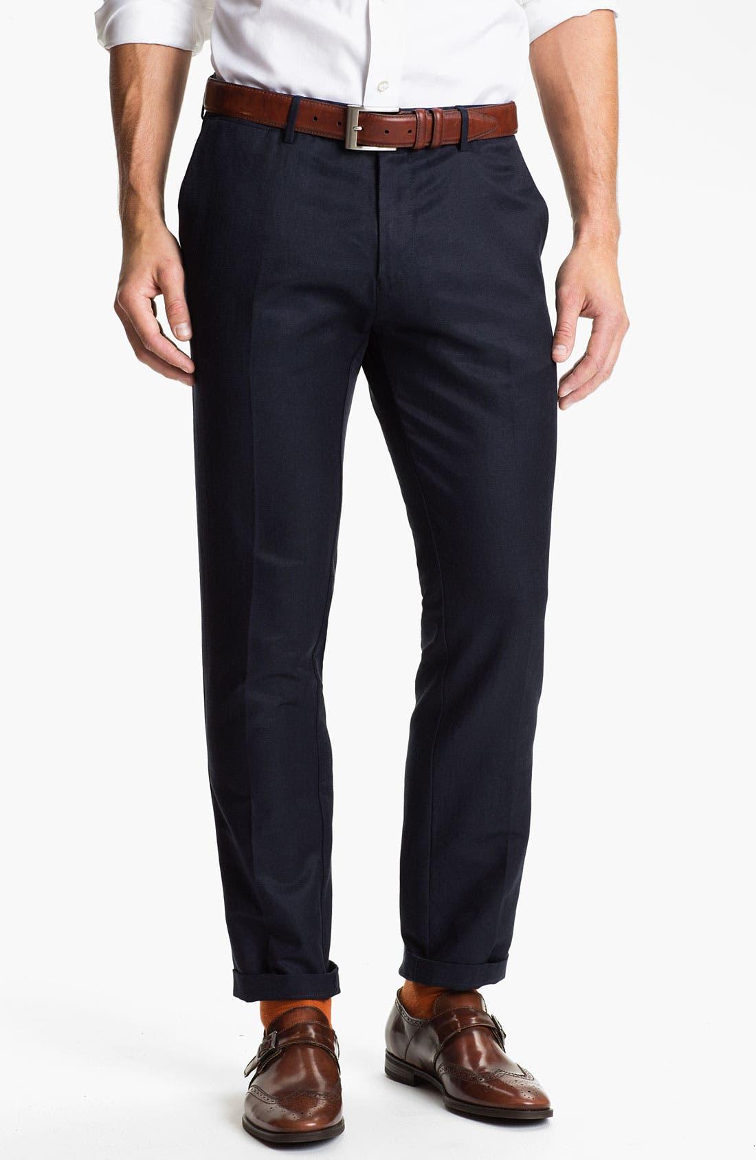 Main Image - BOSS Black 'Caleb' Flat Front Silk Blend Pants (Online Only)