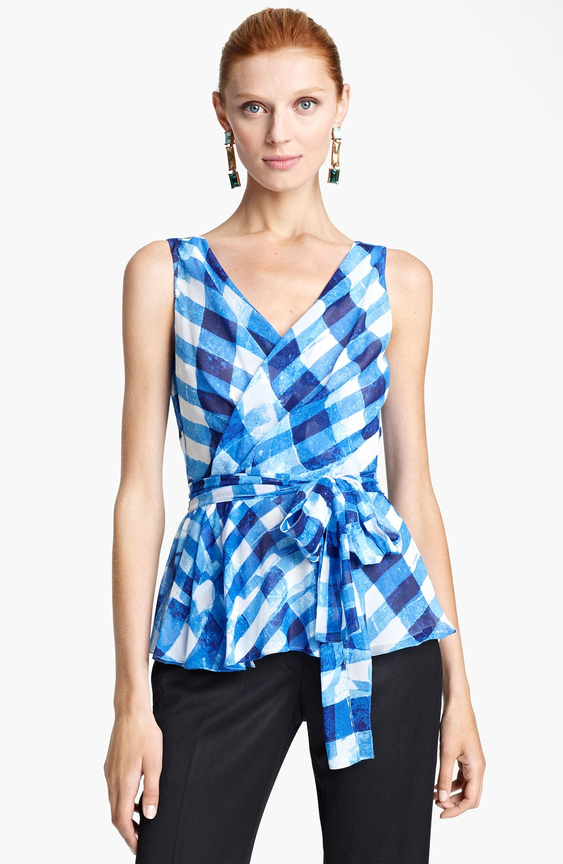 Alternate Image 1 Selected - Oscar de la Renta Tie Front Silk Wrap Blouse