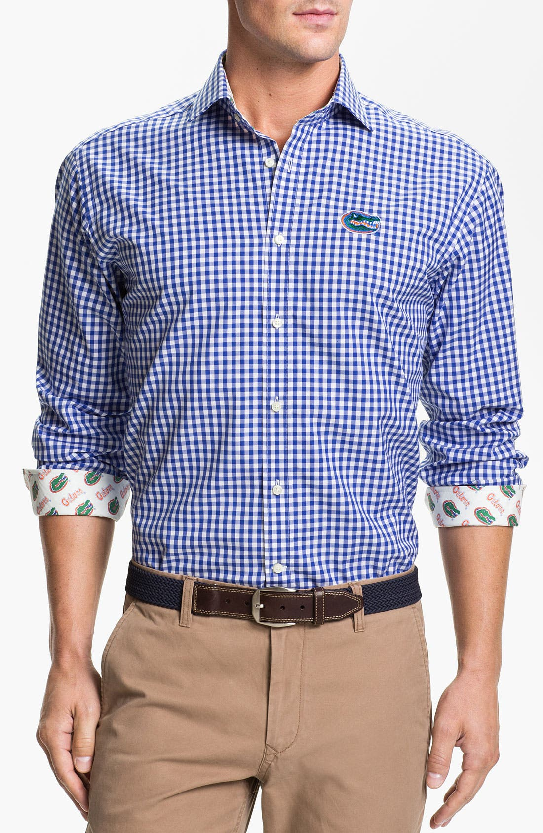 Alternate Image 1 Selected - Thomas Dean 'University of Florida' Gingham Sport Shirt (Online Only)