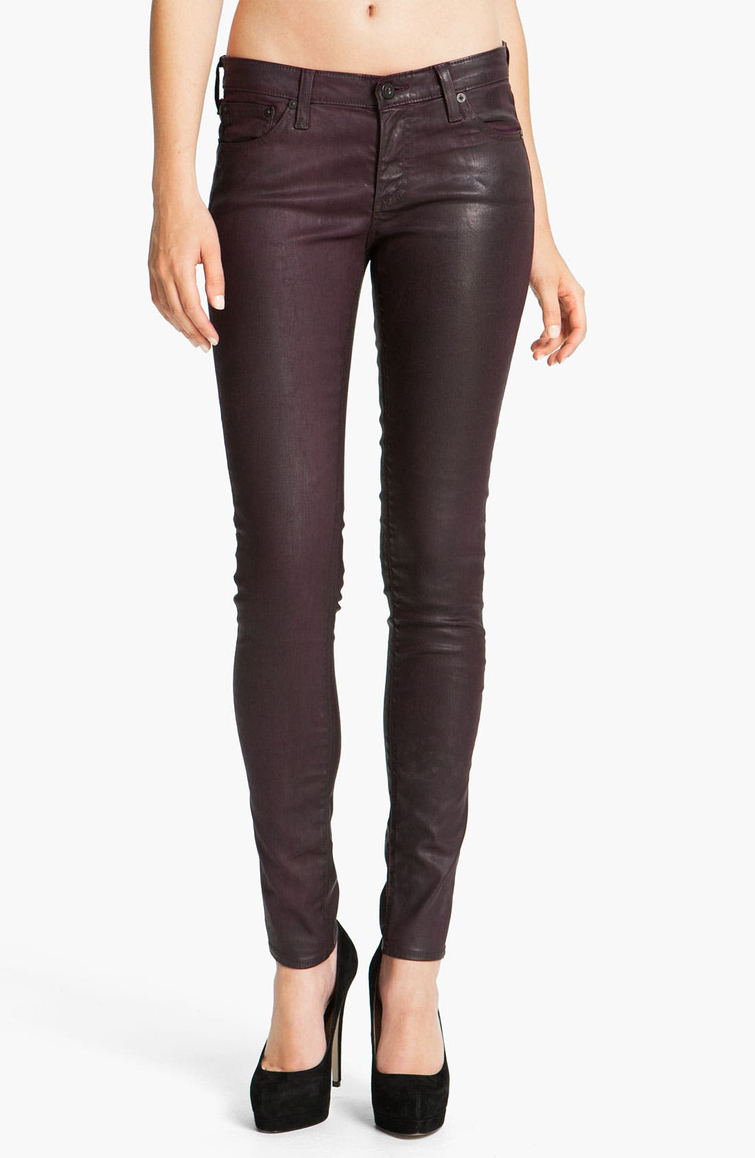 Alternate Image 1 Selected - AG Jeans Coated Skinny Jeans (Blackberry)
