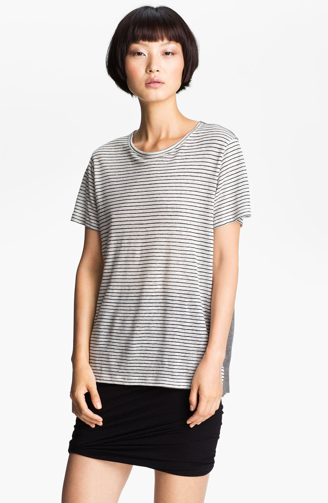 Alternate Image 1 Selected - T by Alexander Wang Stripe & Solid Linen Tee